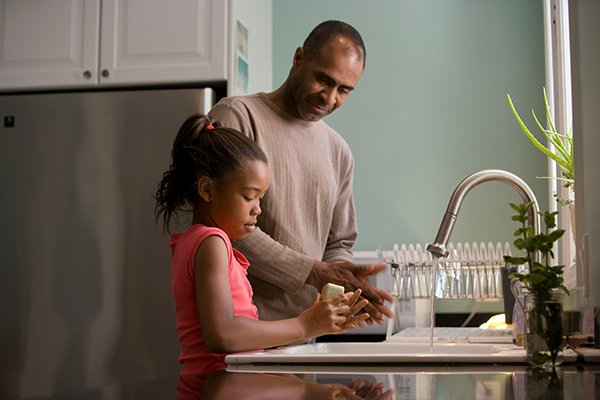 family time | kid washing hands