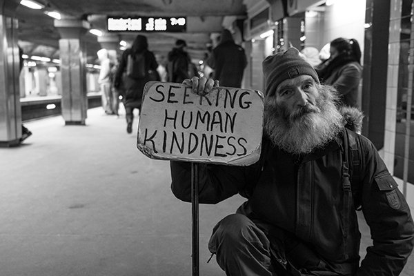 not self-absorbed | homeless man seeking human kindness