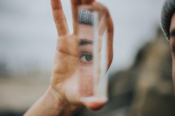 Self-improvement | person holding mirror