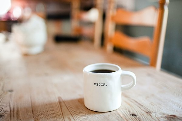 begin | coffee mug with begin