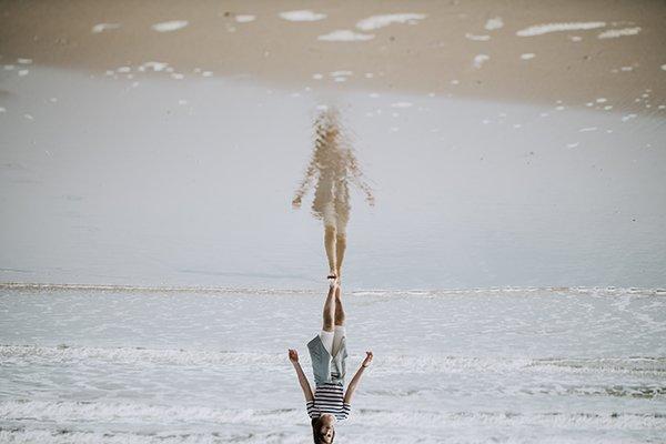 perfect self   woman walking on beach