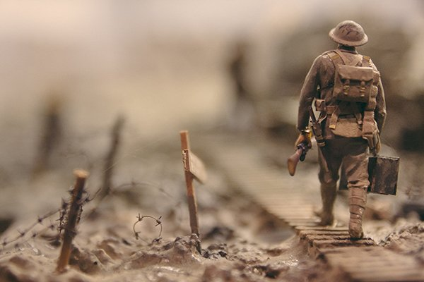 virtuois | soldier walking on tracks