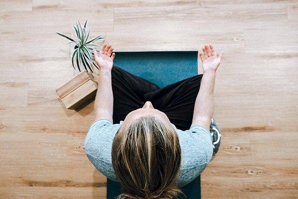 internal process | overhead woman doing yoga